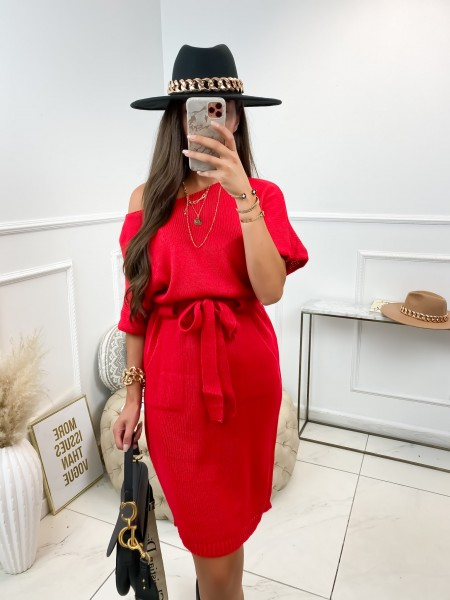 ROBE PULL A NOUER & POCHES RED