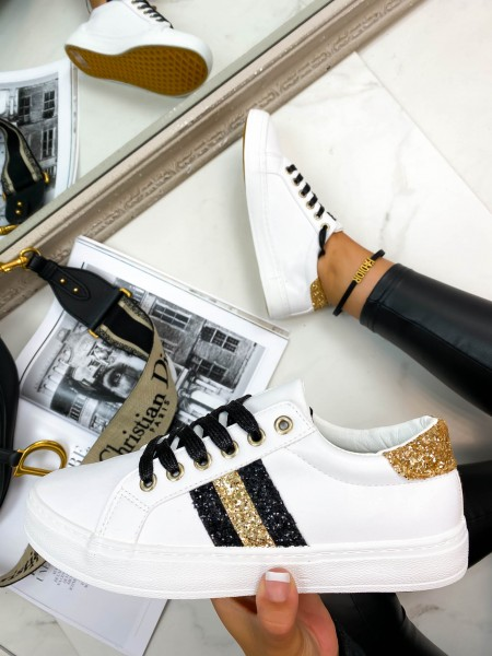 SNEAKERS SHINY GOLD & BLACK