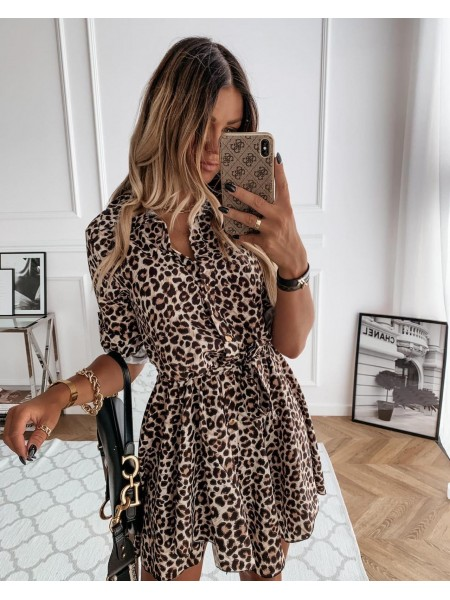 ROBE CHEMISE LEOPARD NUDE