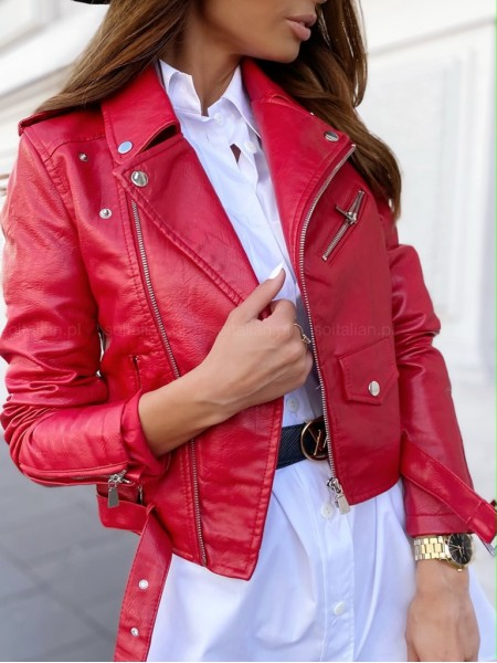 PERFECTO BIKER SIMILI CUIR RED