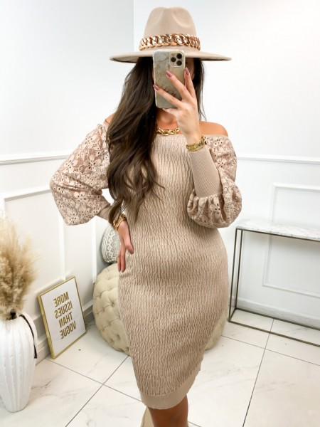 ROBE FRONCES & DENTELLE TAUPE