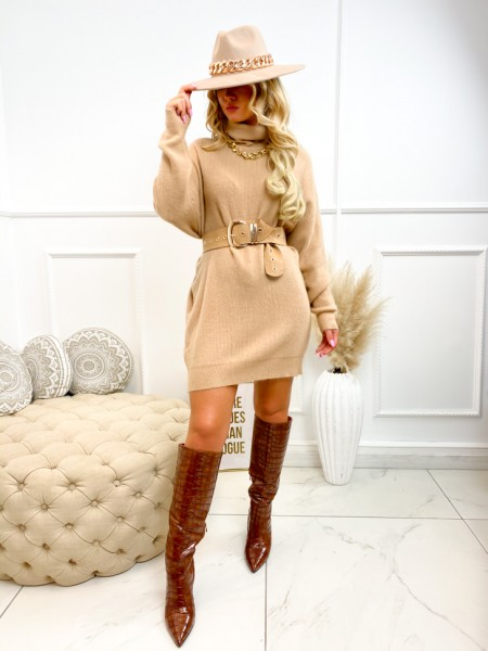 ROBE PULL COL ROULE MAILLE...