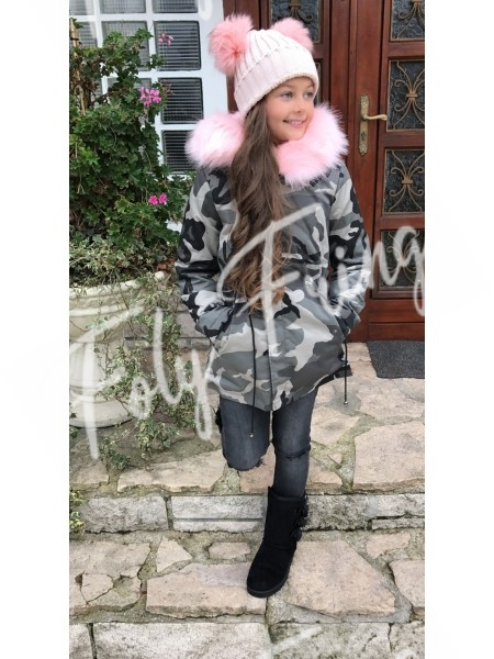 *** PARKA ENFANT ARMY GREY MAXI FOURRURE ROSE ***