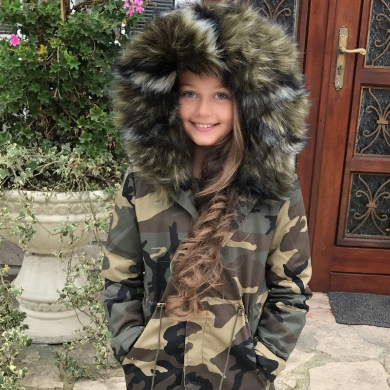 *** PARKA ENFANT ARMY MAXI FOURRURE CAMO***