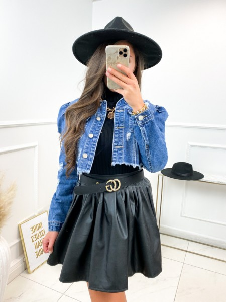 VESTE JEANS CROPPED MANCHES...