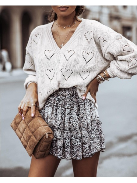 PULL MAILLE COL V HEART NUDE