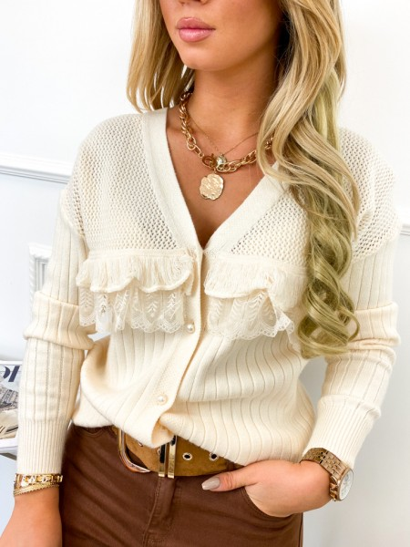 GILET MAILLE FINE PEARLS &...