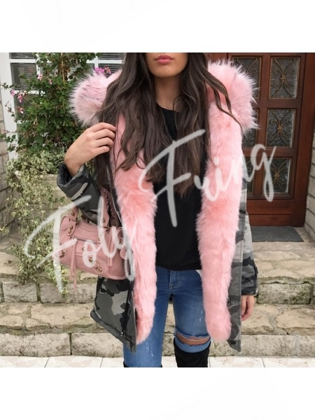 *** PARKA ARMY GREY MAXI FOURRURE ROSE ***