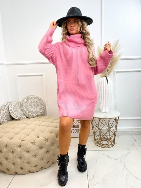ROBE PULL COL ROULE PINK