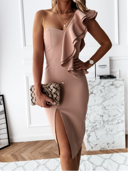 ROBE ONE SHOULDER PINK