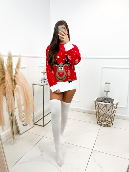 PULL CHRISTMAS REINDEER RED