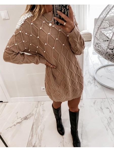 ROBE PULL PEARLS TAUPE