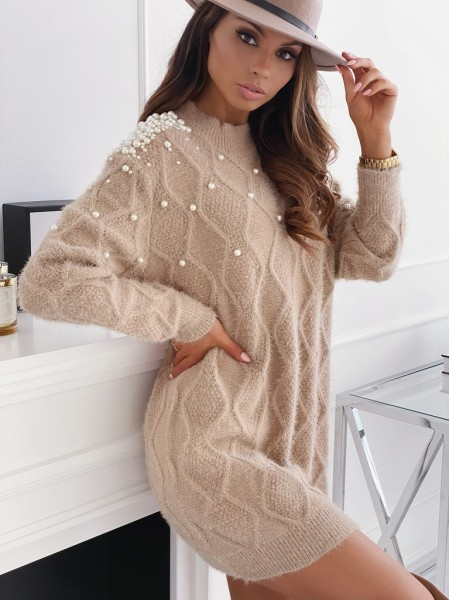 ROBE PULL DOUDOU PEARLS TAUPE