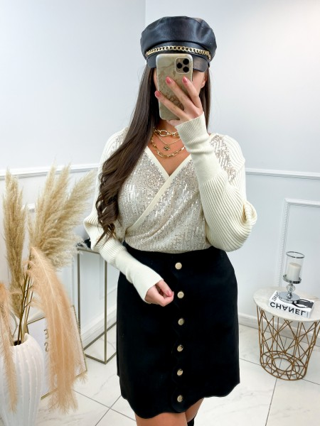 PULL CACHE COEUR SEQUINS NUDE