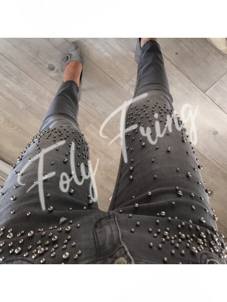 JEAN SKINNY PERLES GREY **** EXCLUSIVE COLLECTION ****