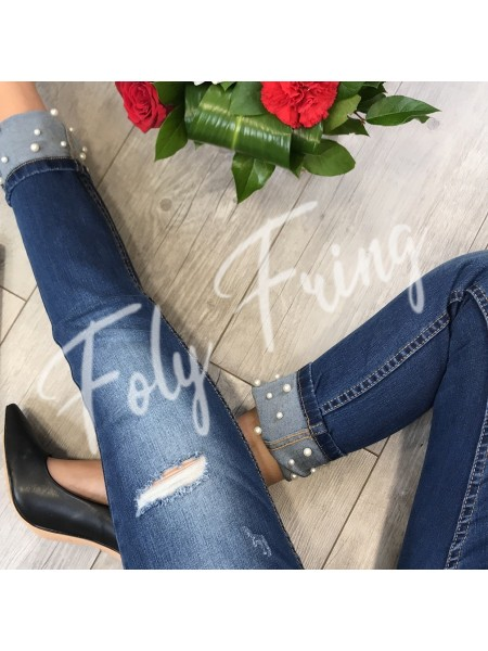 JEAN SKINNY PERLES BLUE DENIM**** EXCLUSIVE COLLECTION ****