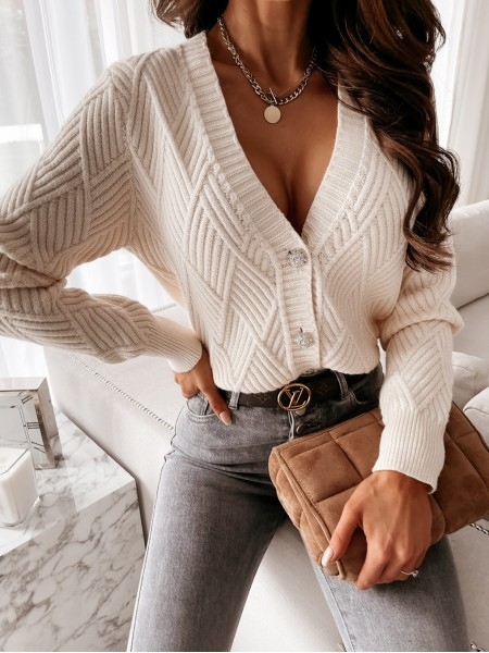 GILET BUTTONS STRASS NUDE