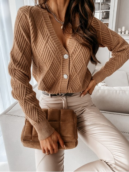 GILET BUTTONS STRASS BROWN