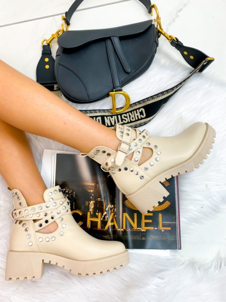 BOOTS RIVETS SILVER & NUDE