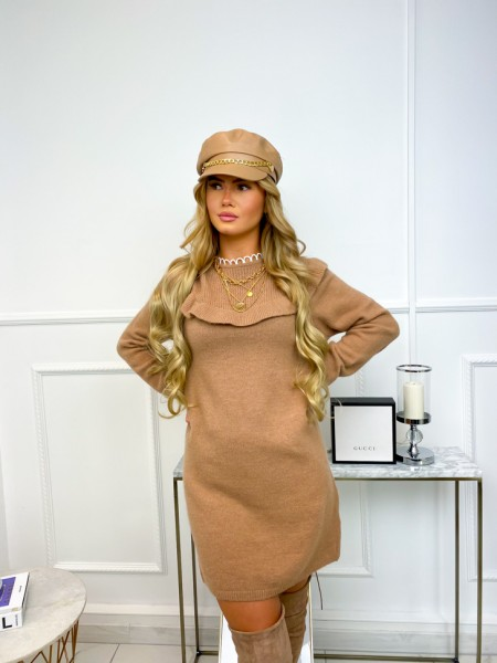 ROBE PULL COL GUIPURE CAMEL
