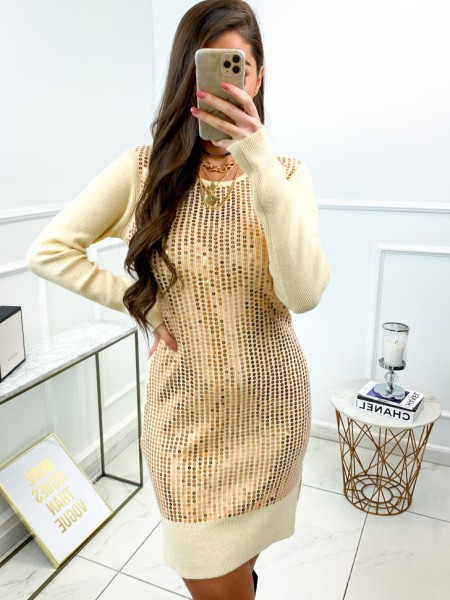 ROBE PULL SEQUINS NUDE