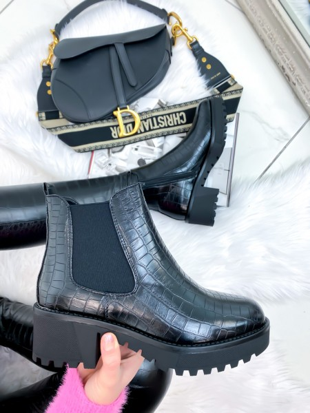 BOTTINES CHELSEA CROCO BLACK