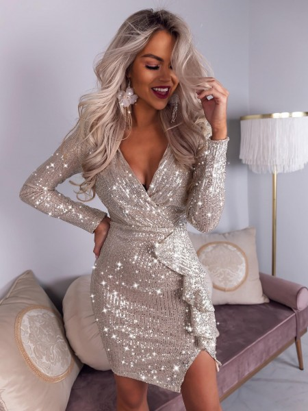 ROBE VOLANTS SEQUINS SILVER...