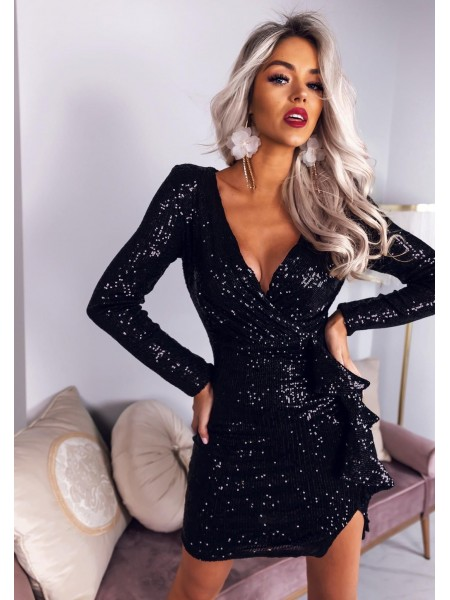 ROBE CHRISTMAS SEQUINS BLACK
