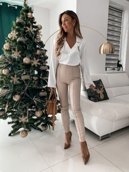 LEGGINGS SIMILI CUIR NUDE