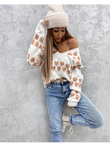 PULL DOUDOU HEARTS PINK & NUDE