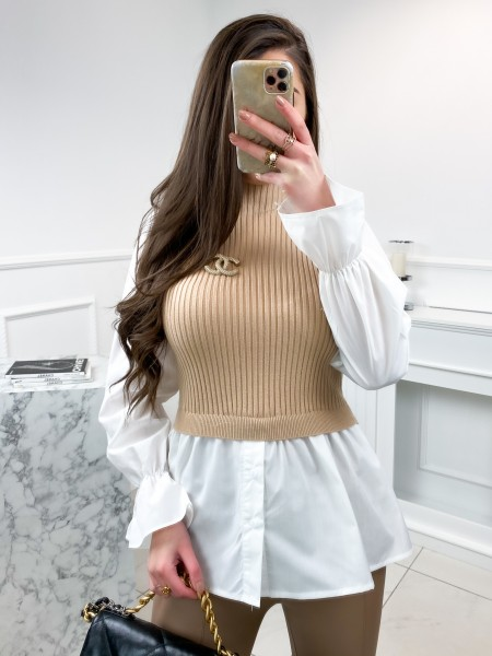 PULL MAILLE FINE & CHEMISE...