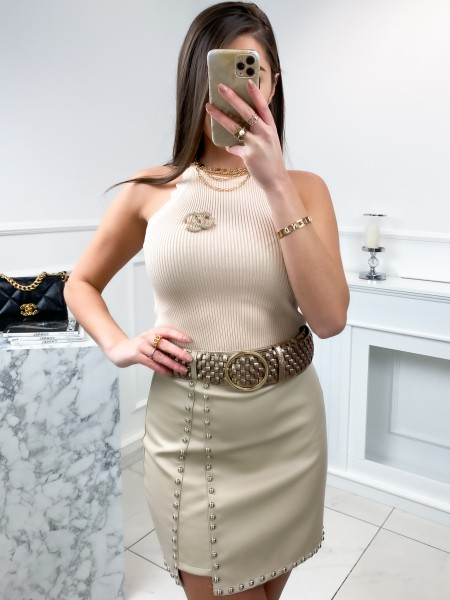 TOP CROPPED MAILLE FINE NUDE