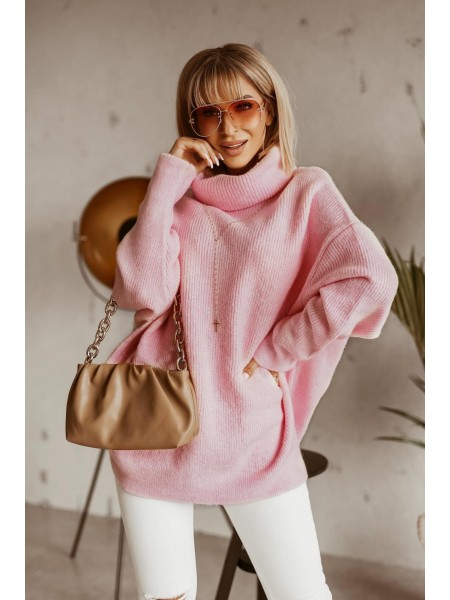 PULL MAXI COL ROULE PINK