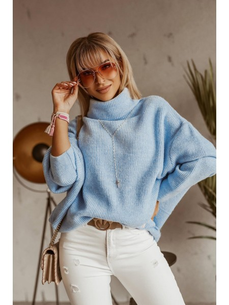 PULL MAXI COL ROULE LIGHT BLUE