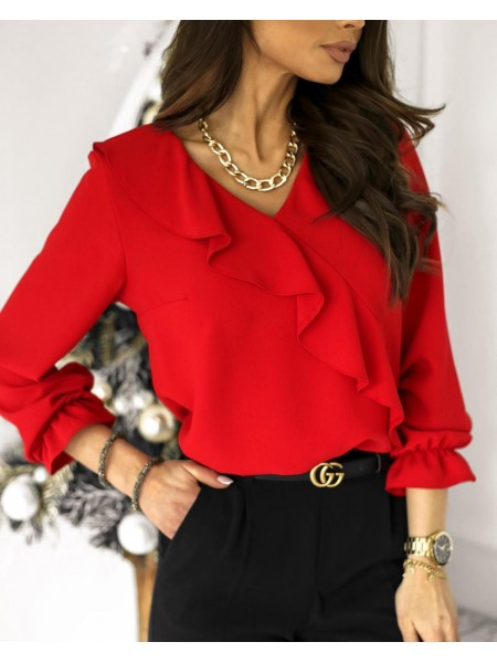 BLOUSE COL V & VOLANTS RED