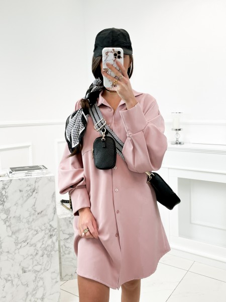 MAXI CHEMISE A POCHE PINK