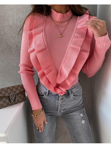 PULL COL MONTANT & VOLANT PINK