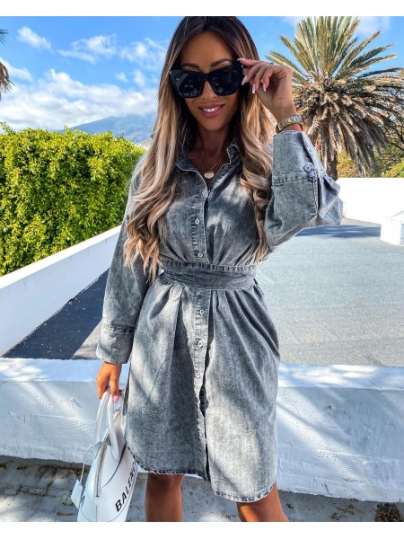 MAXI ROBE CHEMISE A NOUER GREY