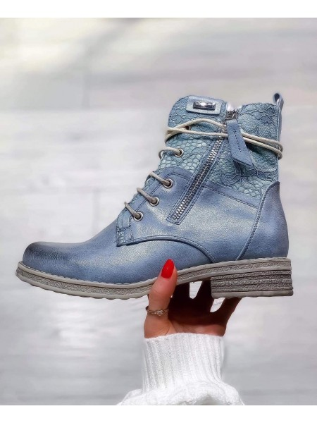 BOOTS DENTELLE SHINY BLUE
