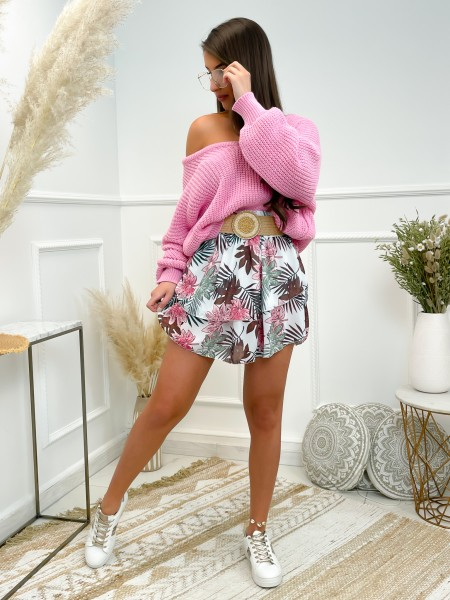 JUPE VOLANTS FLOWERS PINK &...