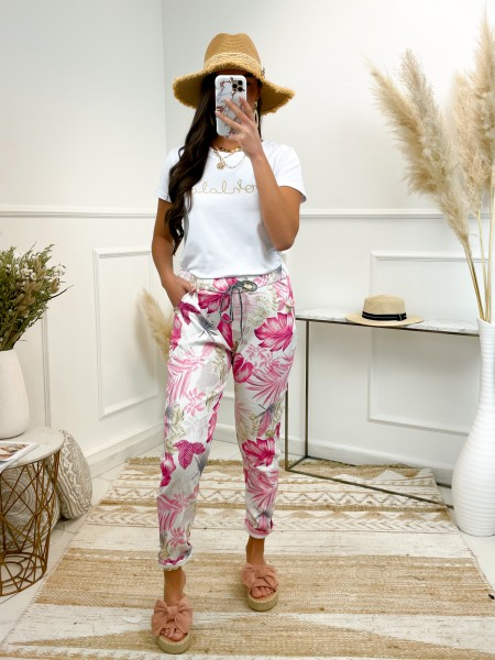 PANTALON FLOWERS WHITE & PINK