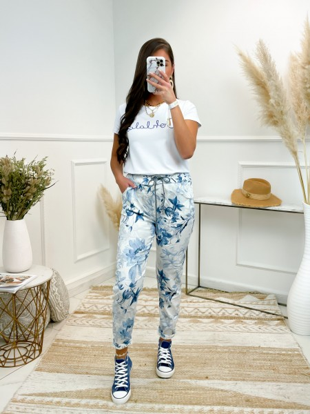PANTALON FLOWERS WHITE & BLUE