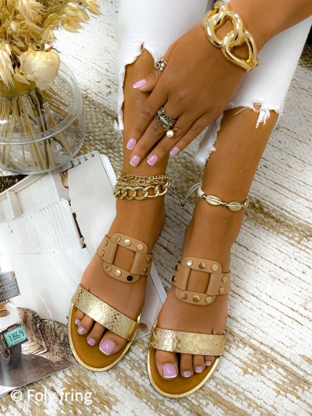 MULES PYTHON & CLOUS GOLD &...