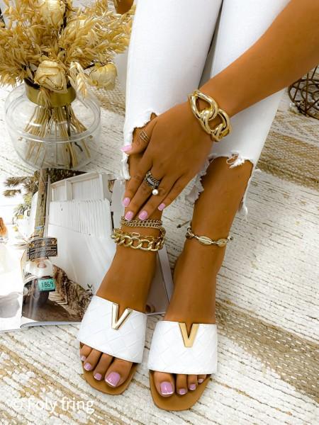 MULES VALENTINO GOLD & WHITE