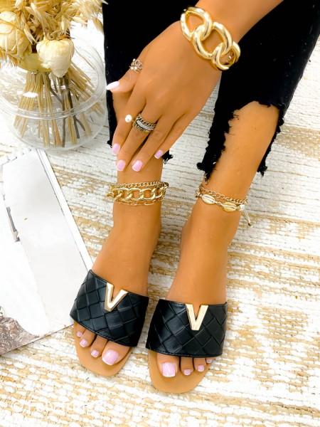 MULES VALENTINO GOLD & BLACK