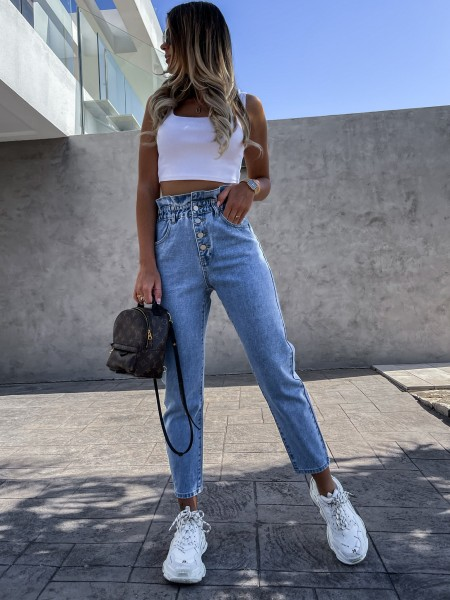 JEANS HIGH WAIST VOLANTS &...