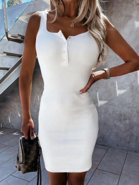 ROBE MAILLE COTELEE WHITE