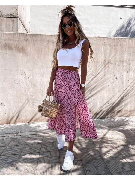 MAXI JUPE & FENTE FLOWERS PINK