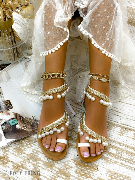SANDALES CHAINE & PEARLS WHITE