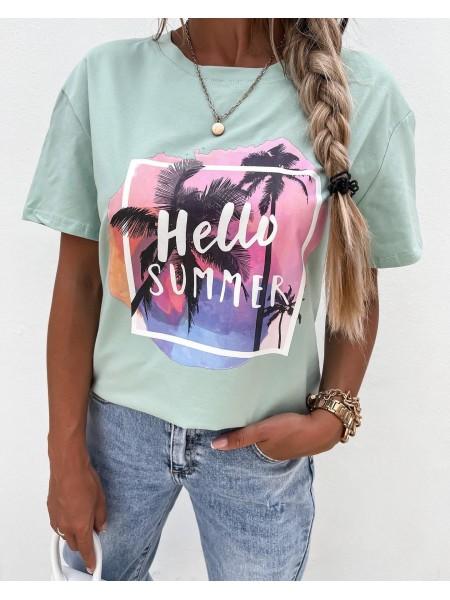 TSHIRT HELLO SUMMER MINT